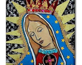 Mexican Folk Art Ceramic Tile  Virgin of Guadalupe Art  Mexican Talavera cOASTER