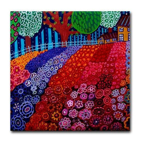 Landscape art Tile Ceramic Coaster Mexican Folk Art Print of painting by Heather Galler