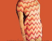 Vintage Crochet Chevron Striped Dress Pattern PDF 353 from WonkyZebra