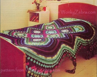 Vintage Crochet Pattern 257 PDF Afghan Bedspread from WonkyZebra