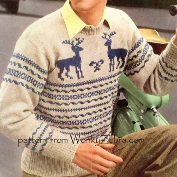 Free Knitting Pattern For Reindeer Jumper : Reindeer Knitted Sweater Pattern Vintage PDF 281 by wonkyzebra