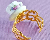 Floral Teacup Ring in Gold White and Pink Porcelain
