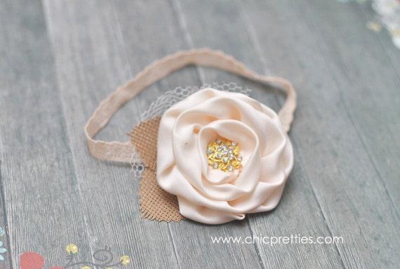 Baby Girl Newborn Photo Prop - New Posh Cream Rosette on Skinny Lace Headband.