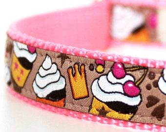 Cupcakes and Crowns Dog Collar, Ribbon Dog Collar, Desert Girl Pet Collar