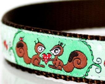 Squirrel Friends Dog Collar, Adjustable, Woodland, Ribbon Pet Collar