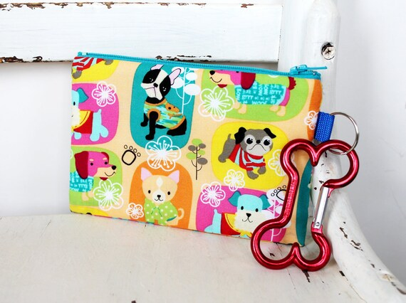 Pet Mess Clean Up Bag /  Happy Dogs / Pet Leash Purse