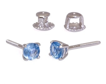 0.50ct 4mm Round Brilliant-cut London Blue Topaz Screw Back Stud Earrings Solid 925 Sterling Silver, JEX30064-0975