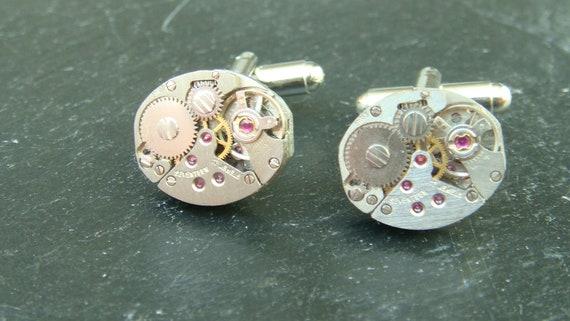 Steampunk Cufflinks Steampunk Watch Cufflinks Ruby red Cufflinks Industrial Gothic Steampunk Jewelry