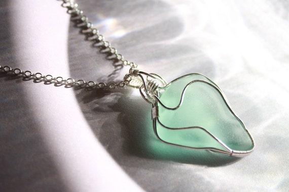 Aqua Green Sea Glass - Silver Wire-Wrapped Pendant