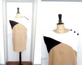 Vintage 1980s Wiggle Dress Geometric Patterns Beige Black and White
