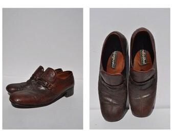 vintage snakeskin shoes vintage snakeskin leather loafers mens size 8.