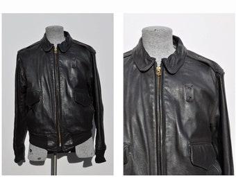 vintage leather jacket a2 bomber flight jacket A-2 border patrol 44 large.