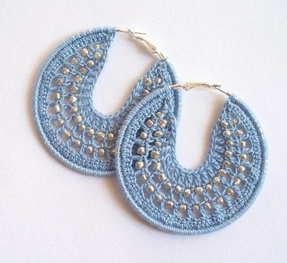 Crocheted Beaded Hoop Earrings Light Blue and Silver