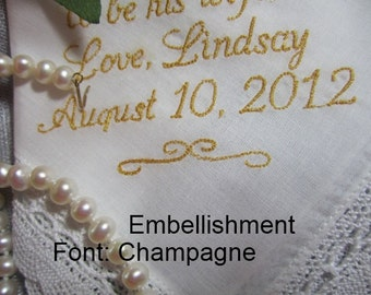 Once in a Special Lifetime, a unique, Bridal Heirloom Hankie becomes spcial. Personalized, gift envelop, Embroidered hankerchief