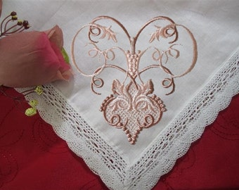 Loving gift-Mothers Day-Wedding Hankie Custom made for your Mother-In-Law. Just for Your Unique Wedding, with its lace and gift envelop