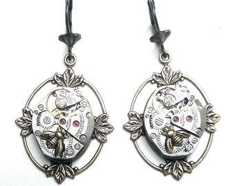 Honey Bee Steampunk Earrings