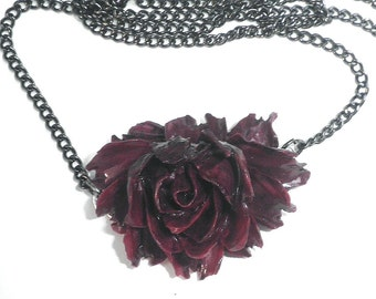 Goth Rose Necklace, Burgundy Rose, Neo Victorian, Lolita Vamp, Cameo, Edwardian Fantasy, Neoclassical