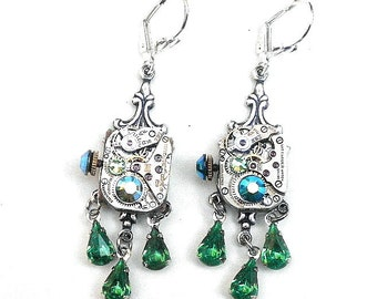 SALE, Steampunk Crystal Earrings
