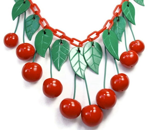 New 1940s Costume Jewelry: Necklaces, Earrings, Pins Red Cherry Necklace Red Chain version 1940s Vintage Bakelite Inspired Reproduction Jewelry from modern plastics Rockabilly Pin Up $75.00 AT vintagedancer.com