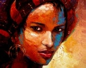 12in x 16in hand embellished giclee print on canvas , African, Fulani, Lady. Aisha