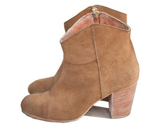 tobacco suede Road House ankle boots - handmade