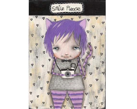 Whimsical painting folk art painting Cheshire cat original Alice in wonderland painting Mixed media painting on wood - Smile Please