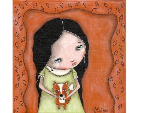 whimsical girl painting folk art fox whimsical art painting mixed media original painting 6x6 inch canvas board - I wish I had a fox