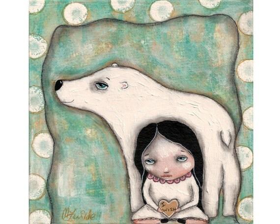 whimsical girl painting folk art Polar bear mixed media original painting 6x6 inch canvas board - I wish I had a Polar Bear