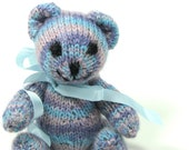 Knitted Alpaca Bear Pink Lavender Blue Striped