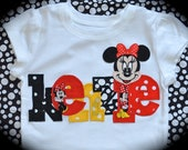 Custom Boutique Girls Toddler Disney Vacation personalized MINNIE Mickey MOUSE APPLIQUE  Shirt with your child's name 2 3 4 5 6 7 8