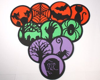 Set of 10 Halloween Mini Cards - custom color, silhouette, gift tag, label