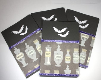 Halloween Cards - Set of 4 - Bats and Potions, Samhain, spooky, adult Halloween, mad scientist