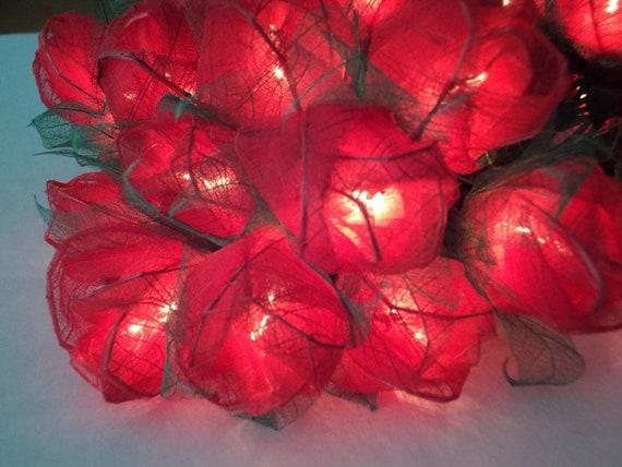 35 Red Rose Flower Fairy Lights 3.5 metres
