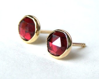 Solid gold earrings,Valentine's Day Gift, Stud Earrings, ,Fine Gold earrings, gold studs ,Red Garnet Earrings, Gift for her, gift idea