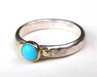 Blue Turquoise ring , Silver ring, Stackable ring, Anniversary Rings ,Engagement Rings,925 silver ring,  Silver Bands