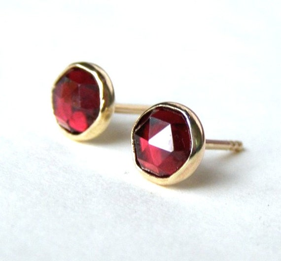 Red Garnet Earrings gold Stud earring 14k yellow Gold earrings