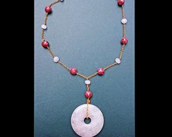 Jade Quartz stone purple gold plated pink metal birthday for her rose lariat beaded beadwork ruby pastel gift magenta luck Chinese circle