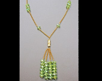 Crystal Necklace gold plated green lime chain metal birthday under 25 for her tassel sparkle bamboo beaded beadwork strand lariat art deco