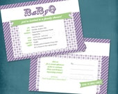 Purple & Green BaByQ Couple's BBQ Baby Shower Invitation. Postcard Style Optional. ANY COLORS by Tipsy Graphics