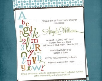 ABC Colorful Alphabet Baby / Bridal Shower Invitation.  Bring a letter.  Any colors and text by Tipsy Graphics