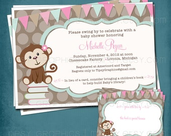 Little Monkey Stock the Library Shower Invitation. Coordinating DIY Book Plate Design Included by Tipsy Graphics