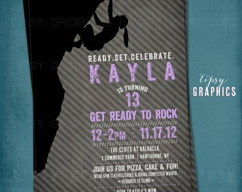 Rock Climb Birthday Party Invite. Modern Girl Climbing Invitation. Purple Black Pink Turquoise Blue by Tipsy Graphics