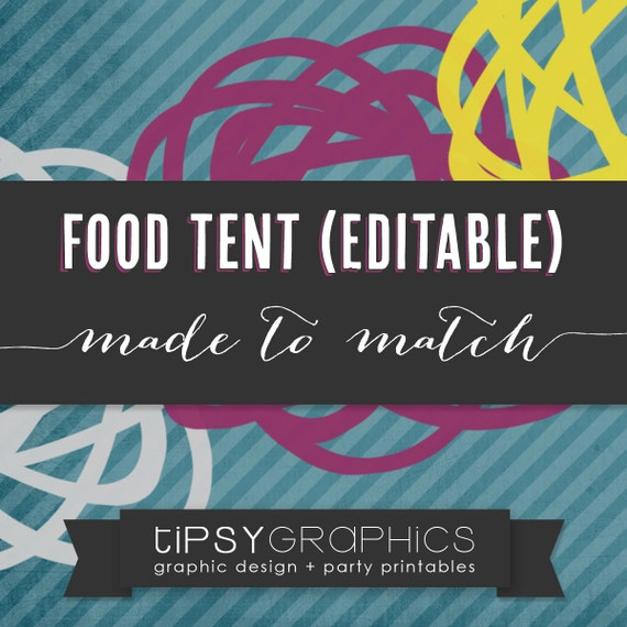 Food Tent / Place Card. Editable PDF. Printable DiY ADD ON. Made to Match any Tipsy Graphics Design