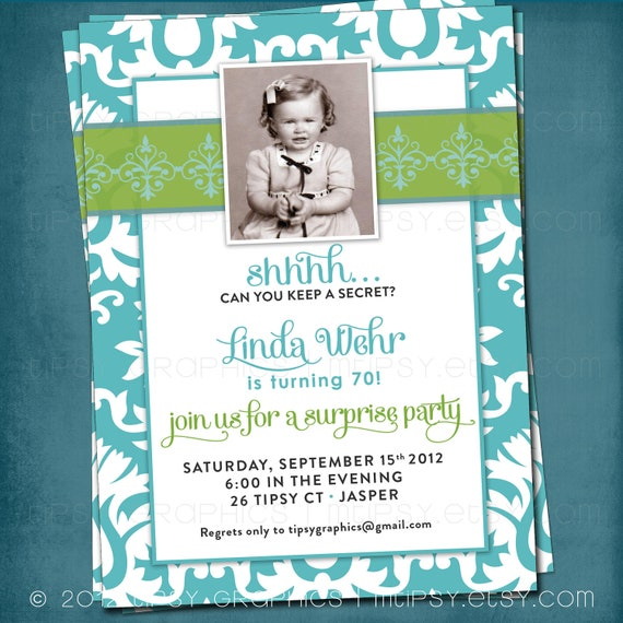 Can you keep a Secret. This Gal's Turning 50. Elegant Milestone Surprise Birthday Party Invitation. Photo Optional by Tipsy Graphics.