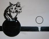 Surrealist cat a night