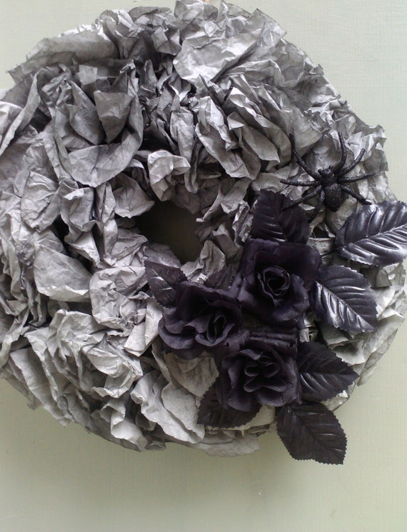 Halloween Wreath Black Roses, Spider and Charcoal Grey Filters ON SALE