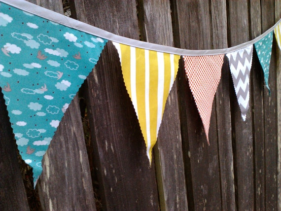 Rainy Day Bunting Flags- Aqua, Grey, White, Red and Chartreuse Pennants with Chevron & Cloud print
