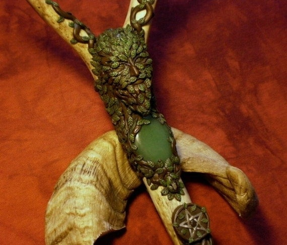 RESERVED - King of the Wild Forest - Green Man staff (Price reduced for final payment)
