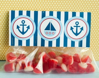 Preppy Nautical Baby Shower PRINTABLES Fold Over Tag by Love The Day