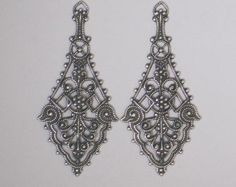 "Trinity Brass ""Rebekah Pendant""  25 x 55mm  Antiqued Silver Patina Filigree (Qty 2)    115-08-AS"